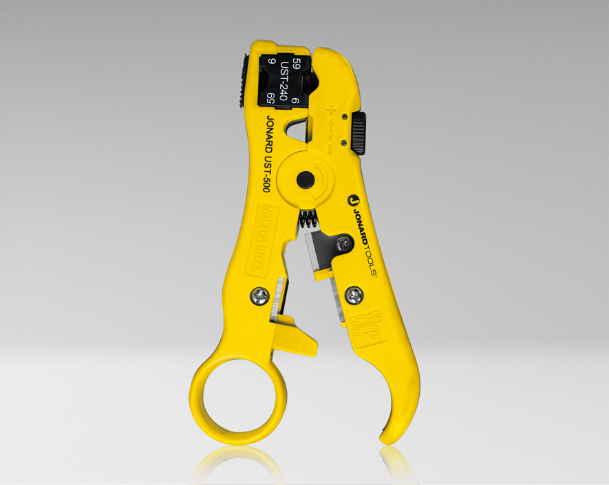UST-540 - Universal Cable Stripping Tool with Cable Stop for COAX, Network, and Telephone Cables